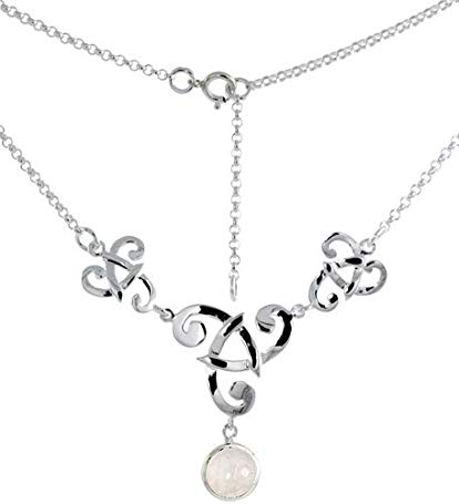 Sterling Silver Celtic Fish Trinity Triquetra Knot Necklace with Natural Moonstone, 16 inch long