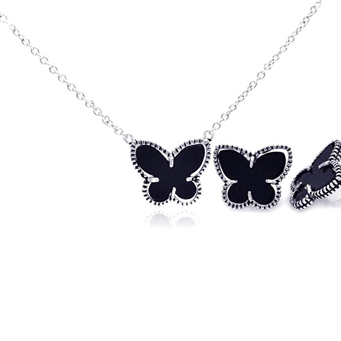 Sterling Silver Black Simulated Onyx Mini Butterfly Stud Earring & Necklace Set 16
