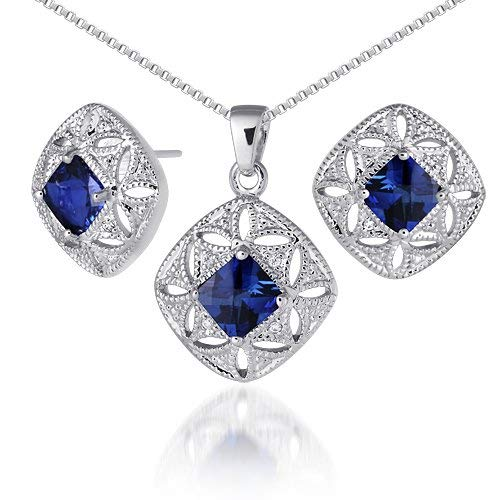 Created Sapphire Pendant Earrings Necklace Sterling Silver Rhodium Nickel Finish Princess Cut