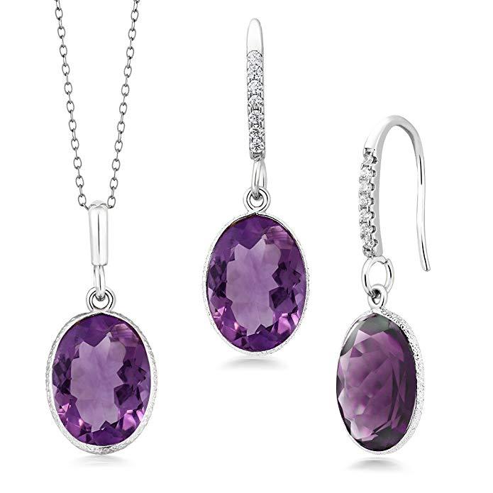 15.00 Ct Purple Amethyst 10x14mm Oval Silver Pendant and Earrings Set 18