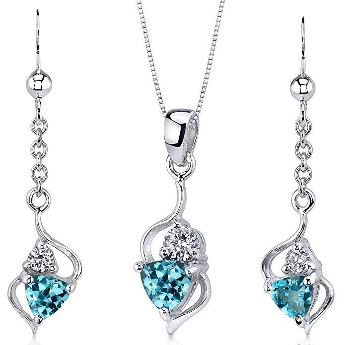 Swiss Blue Topaz Pendant Earrings Set Sterling Silver Rhodium Nickel Finish 1.75 Carats Ribbon Style