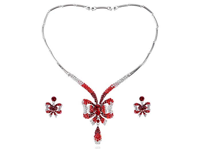 Alilang Ruby Garnet Red Christmas Bow Ribbon Tie Swarovski Crystal Necklace Earring Set