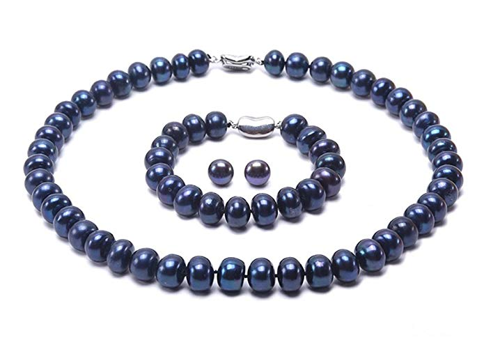 JYX 9-10mm Dyed-blue Cultured Freshwater Pearl Necklace 18