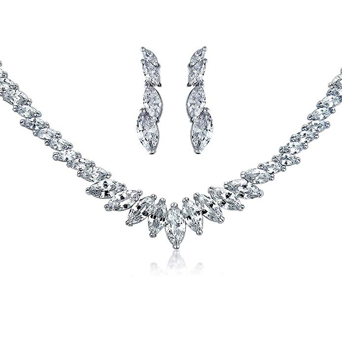 Marquise CZ Bridal Necklace Earrings Set Rhodium Plated