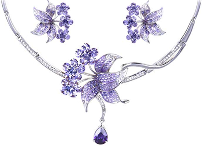 Alilang Silvery Tone Purple Rhinestones Floral Lily Bib Necklace Stud Earrings Set