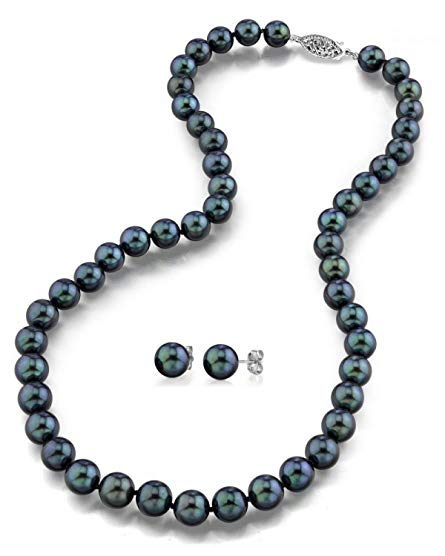 14K Gold Black Akoya Cultured Pearl Necklace & Matching Earrings Set, 18