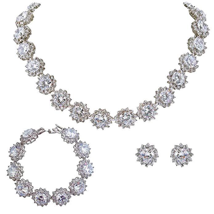 EVER FAITH Wedding Round Pave CZ Star Inspired Jewelry Set