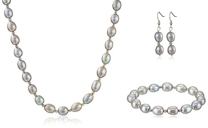 Sterling Silver Grey Freshwater Cultured Pearl Necklace, Bracelet and Dangle Earrings Jewelry Set (8-9mm)