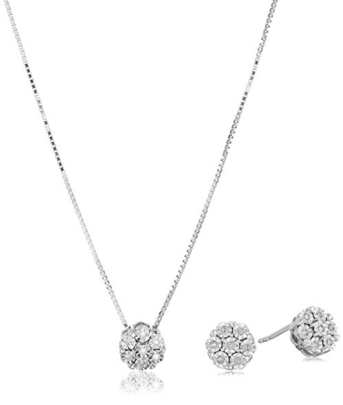 Sterling Silver Diamond Miracle Plate Pendant Necklace and Stud Earrings Jewelry Set