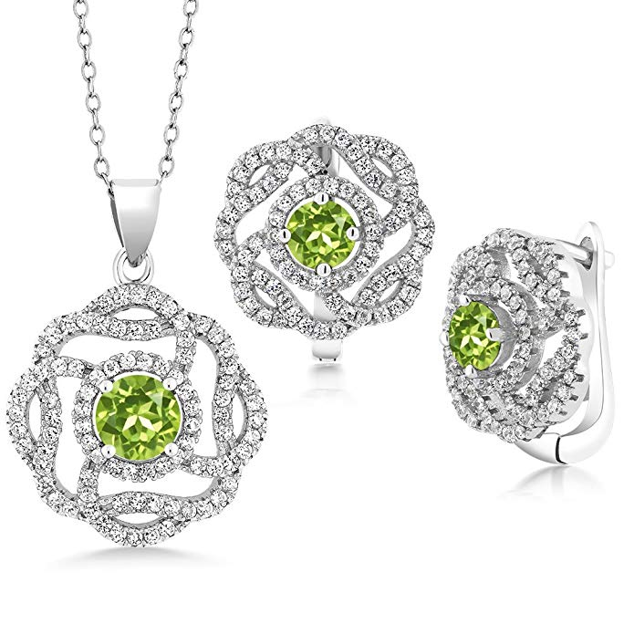 4.95 Ct Round Green Peridot 925 Sterling Silver Pendant Earrings Set