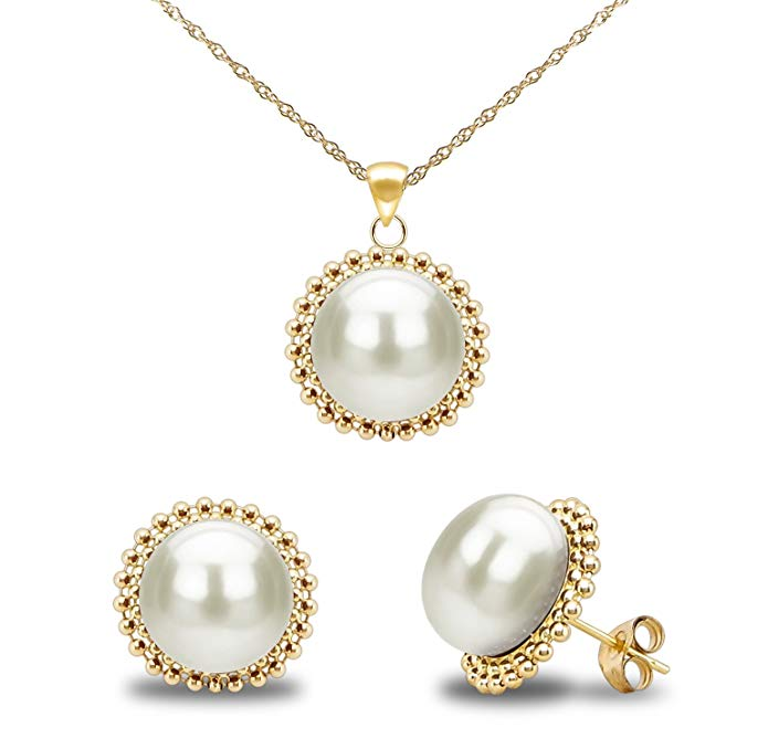 La Regis Jewelry 14k Yellow Gold 9-9.5mm Freshwater Cultured Pearl Beaded Pendant and Stud Earrings Set