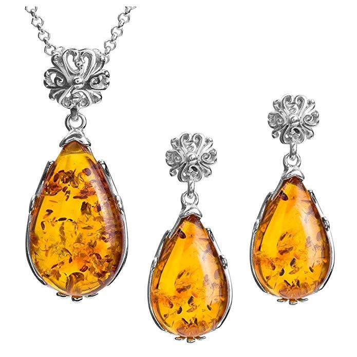 Amber Sterling Silver Oval-shape Drop Earrings Pendant Set Chain 18