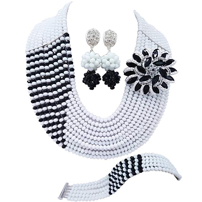 aczuv 10 Rows Fashion African Wedding Beads Nigerian Beaded Jewelry Set Bridal Party Jewelry Sets