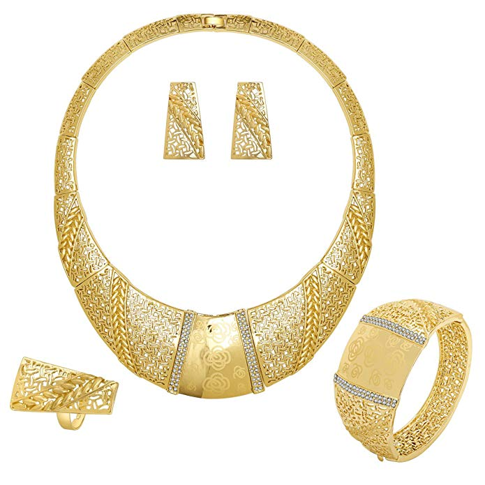 IFFURMON African Jewelry Sets for Women Gold Plated Artificial Crystal Wedding Accessories