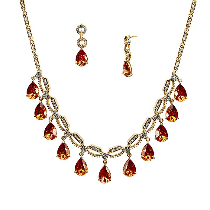 Lia Newyork Brown Cubic Zirconia Gold Necklace and Earring Set. Special Occasion Jewelry Set. (S01438GT)