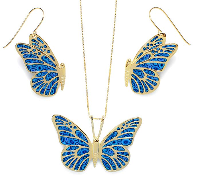 Gold Plated 925 Silver Butterfly Necklace and Dangle Earring Set Handmade Polymer Clay, 16.5