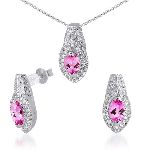 Created Pink Sapphire Pendant Earrings Necklace Sterling Silver Rhodium Nickel Finish 3 Carats
