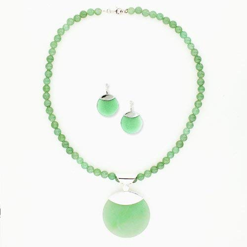.925 Sterling Silver Genuine Green Agate Round Drop Necklace and Earrings Beads Chain 17