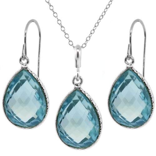 22.50 Ct Blue Topaz 16x12mm Pear Shape Silver Pendant and Earrings Set 18