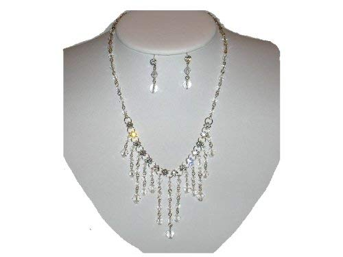 Rhinestone, Crystal Bead and Chain Necklace and Earring Set