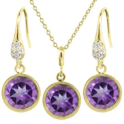 Stunning 6.00 Ct Purple Amethyst Gold Plated Silver Dangle Earrings Pendant Set