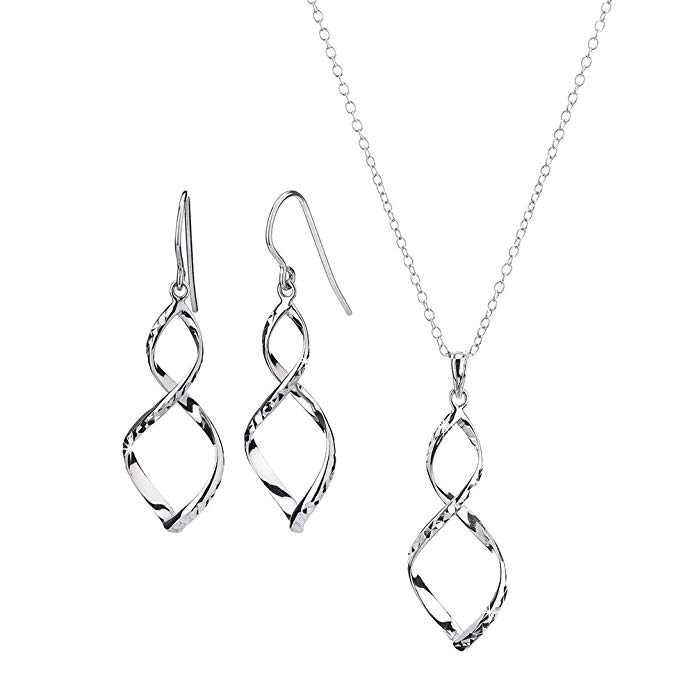 Gold and Honey 1995 G&H Sterling Silver Figure 8 with Diamond Cut Drop Earrings and Pendant Necklace Set
