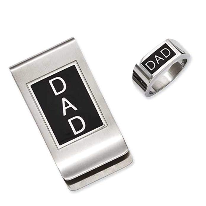 Dad Enamel & Stainless Steel Ring & Money Clip Gift Set (Sizes 9 - 11)