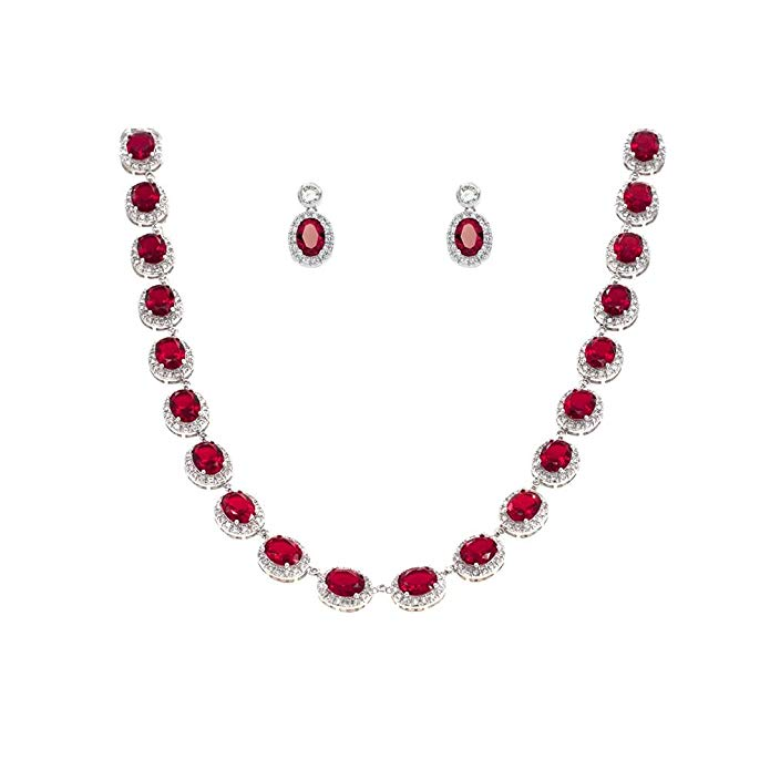 Tennis Oval Necklace & Earrings Jewelry Set AAA Cubic Zirconia Rhodium Plated