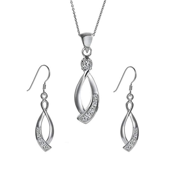 Silverly Women's .925 Sterling Silver CZ 46cm Chain Necklace Earrings Set