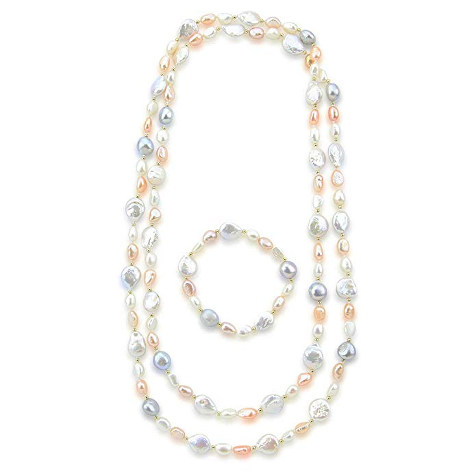 Akwaya Multi Color Baroque Freshwater Cultured Pearl Endless Necklace (6-13 mm) 50