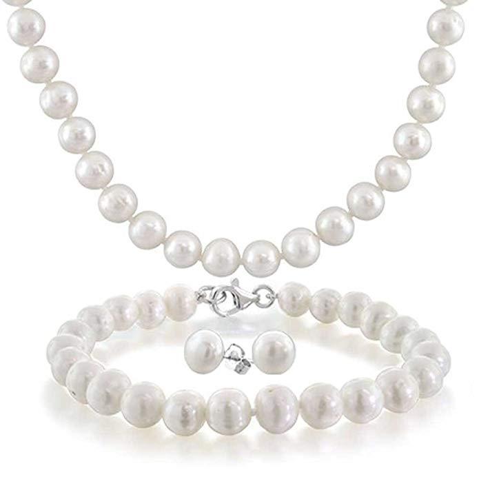 Sterling Silver White Potato Freshwater Cultured Pearl Necklace Bracelet Earrings Set