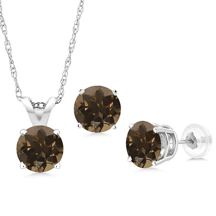 1.38 Ct Round Brown Smoky Quartz 14K White Gold Pendant Earrings Set With Chain