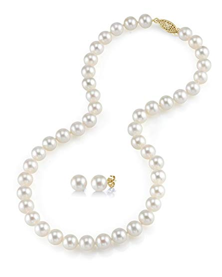 14K Gold 8-9mm White Freshwater Cultured Pearl Necklace & Earrings Set, 18