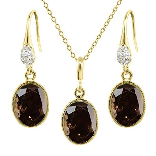 15.00 Ct Smokey Quartz 14x10mm Oval Gold Plated Silver Pendant Earrings Set 18