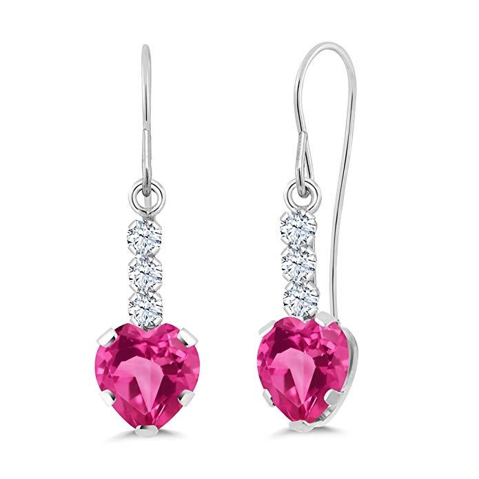 1.98 Ct Heart Shape Pink Mystic Topaz 14K White Gold Earrings