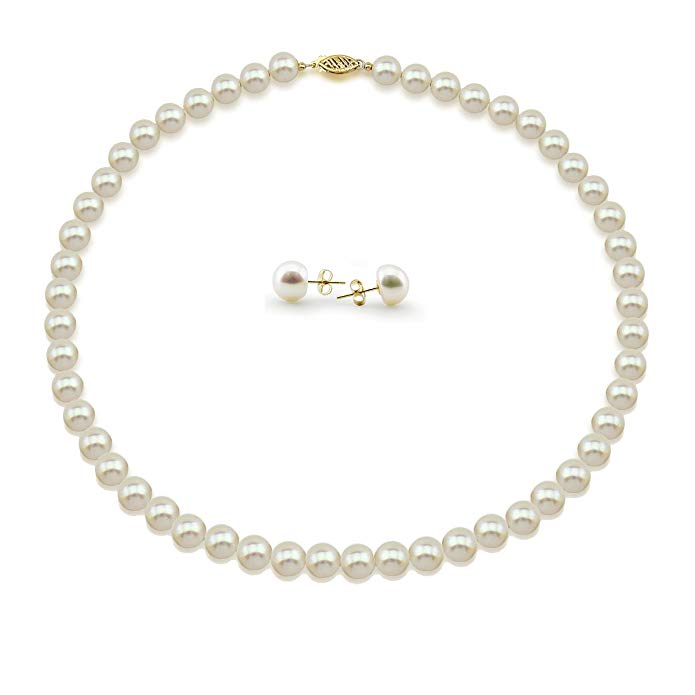"14K Yellow Gold 7.5-8.0mm High Luster White Freshwater Cultured Pearl Necklace 18"", and Earrings Set"