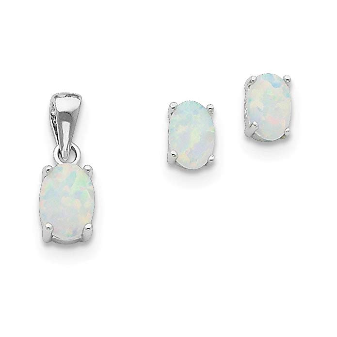 Sterling Silver Created Opal Pendant and Earrings Set - JewelryWeb