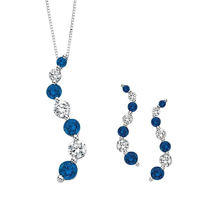Blue and White Alternating Diamond