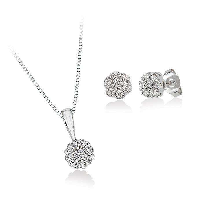 Diamond Floral Cluster Earrings and Pendant Necklace Jewelry Set in 10K White Gold (1/2 cttw)