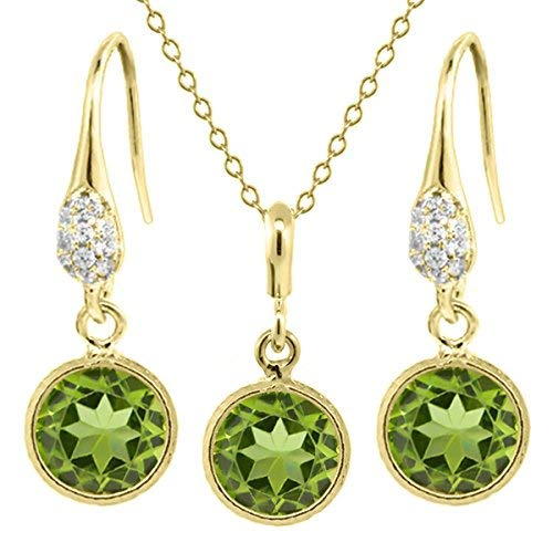 6.00 Ct Green Peridot Gold Plated 925 Silver Earrings Pendant Set 8mm