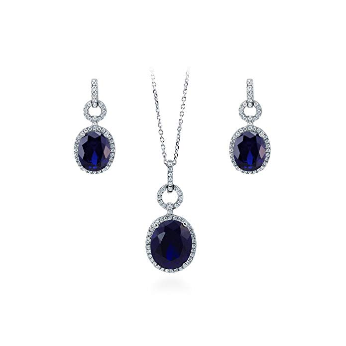 BERRICLE Rhodium Plated Sterling Silver Oval Cut Cubic Zirconia CZ Halo Necklace and Earrings Set