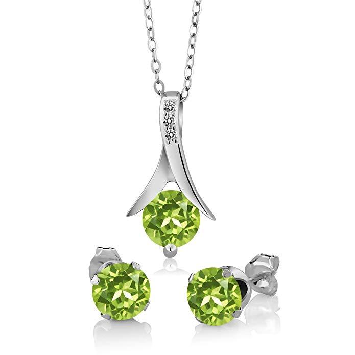 2.60 Ct Round Green Peridot White Diamond 925 Sterling Silver Pendant Earrings Set