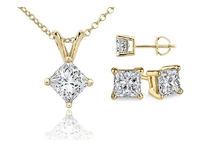 PARIKHS Princess cut Diamond Set Prime Quality-Screw Back in White & Yellow Gold