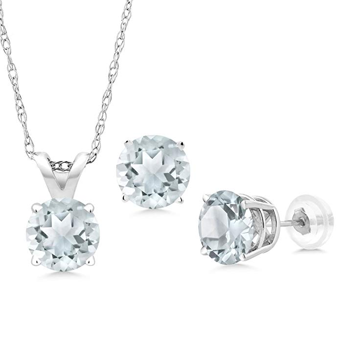 1.20 Ct Round Sky Blue Aquamarine 14K White Gold Pendant Earrings Set With Chain