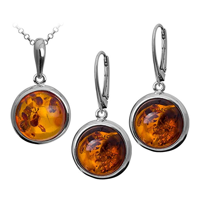 Sterling Silver Amber Round Leverback Earrings Pendant Set Chain 18 Inches