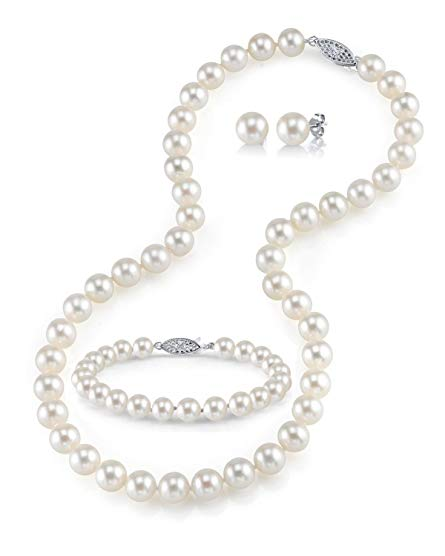 14K Gold 8-9mm White Freshwater Cultured Pearl Necklace, Bracelet & Earrings Set, 18