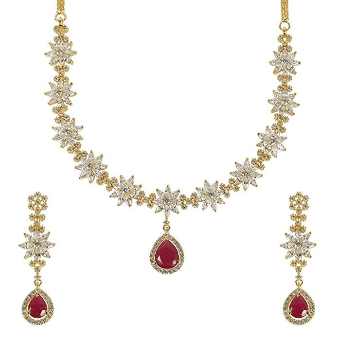 MUCH-MORE Stunning Ruby Crystal Stone Silver Tone Necklace Set Traditional Partywear Jewelry