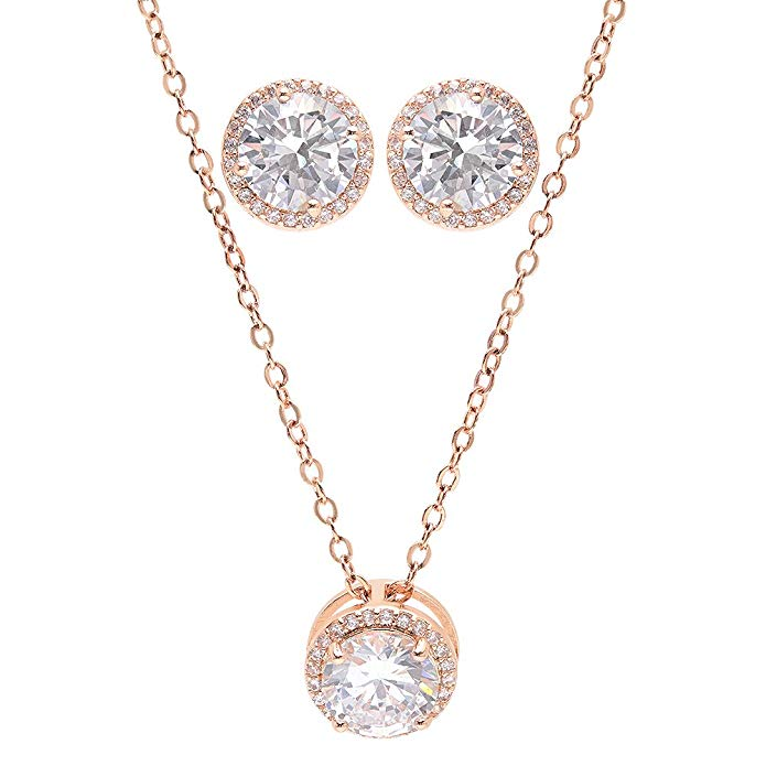 Bridesmaid Gifts - Pretty Halo Cubic-Zirconia Necklace & Earrings Set (18