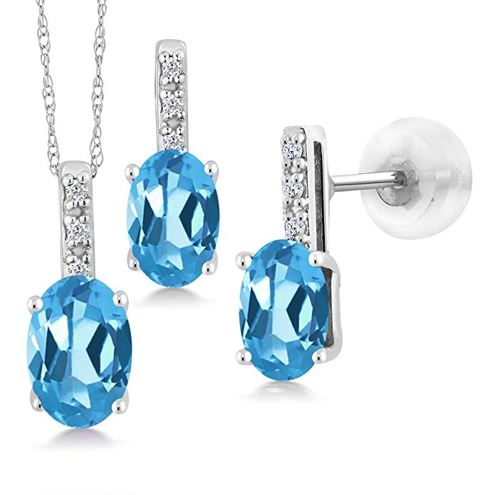 Swiss Blue Topaz and Diamond 1.92 Total Oval Necklace and Earring Set in 14K White Gold