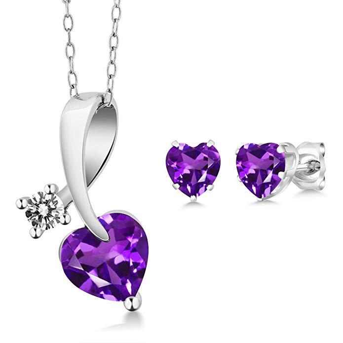 1.80 Ct Heart Shape Purple Amethyst and Diamond 925 Sterling Silver Pendant Earrings Set